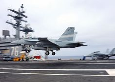 PACIFIC OCEAN (July 14, 2013) An F/A-18F Super Hornet assigned to the Flying Eagles of Strike Fighter Squadron (VFA)122 approaches the flight deck of the aircraft carrier USS Ronald Reagan (CVN 76). Ronald Reagan is underway conducting carrier qualifications. (U.S. Navy photo by Mass Communication Specialist 3rd Class Charles D. Gaddis IV)