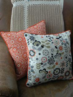 Pair of Handmade Retro Orange & Grey Pillow Covers via Etsy