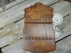 Vintage Embossed Wood Collector Spoon Wall Display Rack Water Mill Design by allthatsvintage56 on Etsy