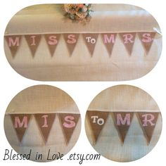 MISS to MRS. natural burlap banner with handmade by BlessedinLove