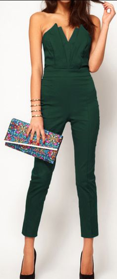 I have no idea where I'd wear this, but I love it!!  #casualflow  Forest Green Jumpsuit