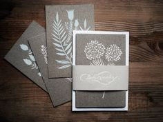 Beautiful screen-printed botanical postcards by KarolinSchnoor on Etsy.
