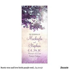 Rustic tree and love birds purple wedding programs purple rustic old oak tree branches and birds couple wedding programs