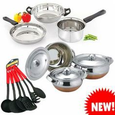 Retro Pool 3 Pcs Induction Based Tawa, Fry Pan and Kadai:-Equip your kitchen with the perfect tools with this cookware set of 3. The contemporary, high quality, rustproof stainless steel 3-piece set of 1 kadai, 1 fry pan and 1 multi pan, is designed to fit your style of cooking. Factoring in your modern day kitchen needs, its efficient engineering makes it suitable for all types of cook-tops, including induction. Its light aluminum body ensures hassle-free cleaning. Each piece is mad…