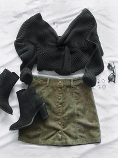 Fall Outfits for Women Styling tips for every outfit - Capsule Wardrobe - Mode İdeen Cute Fall Outfits, Fall Winter Outfits, Autumn Winter Fashion, Trendy Outfits, Winter Wear, Skirts For Winter, Best Outfits, Skirt Outfits For Winter, Green Skirt Outfits