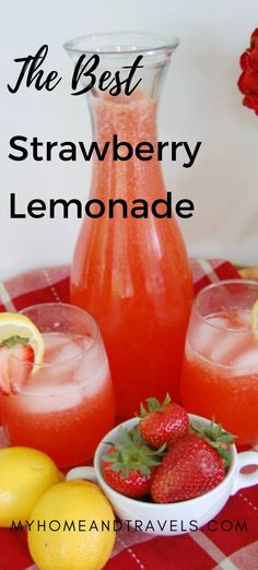 Enjoy a glass of the best Strawberry Lemonade EVER. Make a pitcher, or two Strawberry Lemonade Pie Recipe, Strawberry Drink Recipes, Easy Lemonade Recipe, Homemade Lemonade Recipes, Frozen Lemonade, Strawberry Puree, Raspberry Cheesecake, Pumpkin Cheesecake, Cheesecake Desserts