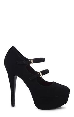 Deb Shops Round Toe Platform Pump with Double Mary Jane Strap