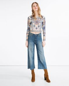 Image 1 of EMBROIDERED CROPPED TOP from Zara