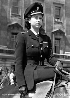 "Dita Von Teese's photo ""Behold this incredible c.1947 image of Queen Elizabeth II riding side-saddle in uniform"