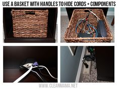 Excellent idea for a baby who already knows how to turn off the computer by himself.... Use a basket with handles to hide cord + components - via Clean Mama