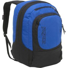 JanSport Air Cure Backpack (Black/Blue Streak)  The JanSport Air Cure Backpack features 2 large main compartments, padded 15 laptop sleeve, full padded back panel, cord management pocket, side mesh water bottle pocket and yoke style AirFlex s-curve shoulder straps.
