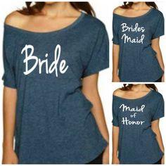 Bride TShirt Bridesmaid Shirt  Maid of Honor by BridalBlissCouture