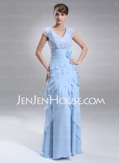 Sheath V-neck Floor-Length Chiffon Charmeuse Mother of the Bride Dresses With Embroidered Ruffle Lace (008006404) - JenJenHouse.com