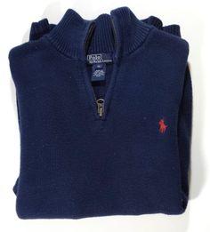 07d37a5d695 Ralph Lauren Polo~Boys Pullover Half Zip Sweater~Blue~Very Nice! XL