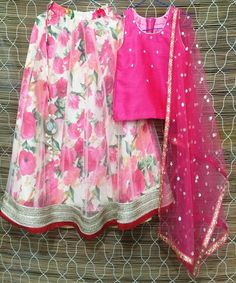 The Coral Floral Lehenga Combo for Girls