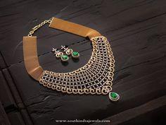 Gold Designer Diamond Necklace Set with Earrings, Gold Designer Diamond Necklace Designs, Gold Designer Necklace with Earrings.