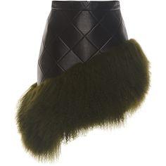 David Koma Mongolian Fur Hem Leather Skirt ($1,350) ❤ liked on Polyvore featuring skirts, black, knee length leather skirt, quilted skirt, quilted leather skirt, asymmetrical leather skirt and real leather skirt