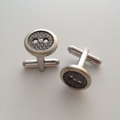 Silver Button Cuff Links $20 by compassandcompany on Etsy