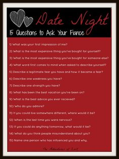 Date Night- 15 Questions to Ask Your Fiance