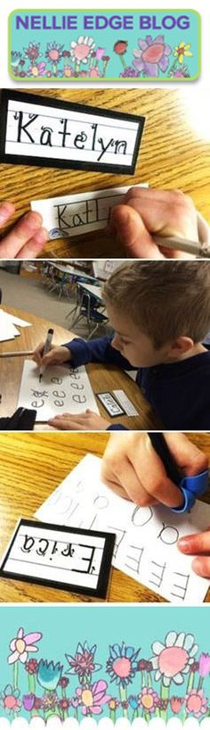 "This  Nellie Edge blog is FILLED with proven kindergarten-friendly handwriting practices STARTING WITH THE ""NAME TICKET."" Includes FREE templates. ""Fall and Winter Handwriting Tips"" http://nellieedge.com/blog/"