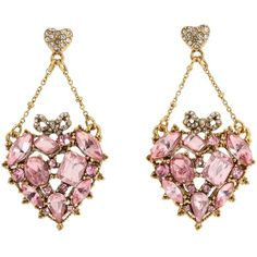 Love these.    Betsey Johnson Cupid'S Arrow Pave Crystal Heart Chandelier Earrings found on Polyvore