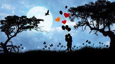 Elsker, Par, Romantik, Valentinsdag, Månen, Træer