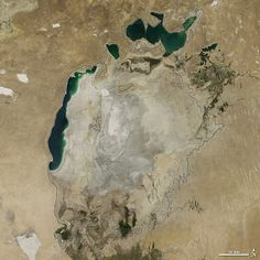 Shrinking Aral Sea 8/19/14 Aral Sea, was once the fourth largest in the world. Dry conditions in 2014 caused the Southern Sea's eastern lobe to completely dry up for the first time in modern times. earthobservatory.nasa.gov