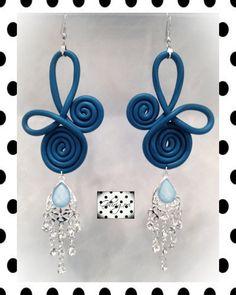 Blue metallic  polymer clay earrings with clear by ghjrigori, $37.00