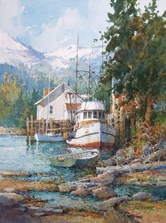 Watercolor Artwork, Watercolor Artists, Watercolor Landscape, Landscape Art, Landscape Paintings, Landscapes, Ian Ramsey, Lake Art, Boat Art