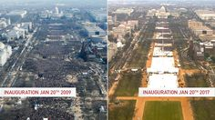 Here's a side-by-side of crowds during President Barack Obama's inauguration in 2009 and Donald Trump's inauguration in 2017.