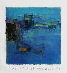 Mar. 27, 2016 - Original Abstract Oil Painting - 9x9 painting (9 x 9 cm - app. 4 x 4 inch) with 8 x 10 inch mat