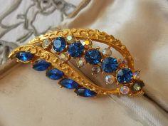 Vintage Blue Glass & Aurora Borealis Brooch by TinkersLaneVintage on Etsy