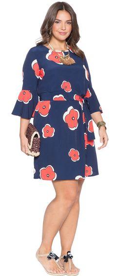 Plus Size Printed Flared Sleeve Dress