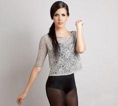 Swan lake lace shirt top grey S