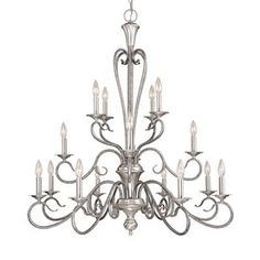 Devonshire 16-Light Satin Nickel/Silver Mist Chandelier $359 @ Lowes paint black and add crystals. For above dining table and two above island.