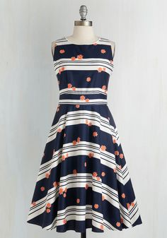 Entrance and Excite Dress. Whether youre coming, going, or sitting pretty in this navy blue dress from Trollied Dolly, youll enchant with ease! #multi #modcloth