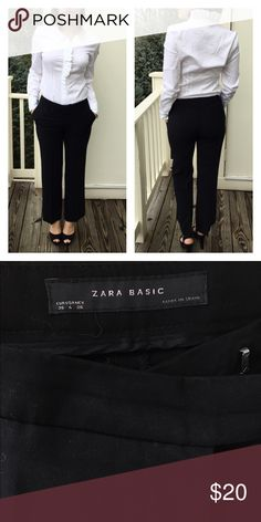 Classic Black Trousers by Zara 👓 Classic Black Trousers by Zara 👓 worn several times, but perfect condition! Size 4. Bundle with the classic white shirt by Banana Republic for 10% off! Zara Pants Trousers