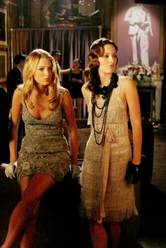 "Serena van der Woodsen wearing Collette Dinnigan and Blair Waldorf wearing Alberta Ferretti dress, and Suzanna Dai necklace/collar at the Empire Hotel's speak easy party in the episode ""How to Succeed in Bassness""......"