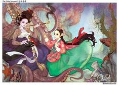 """(Little Mermaid) What would the classic fairy tales such as Snow White and Beauty and the Beast look like if they weren't conceived in the Western hemisphere? South Korean illustrator Nayoung Wooh shows us, by giving iconic characters complete makeovers and drawing them in the """"manhwa"""" style."""