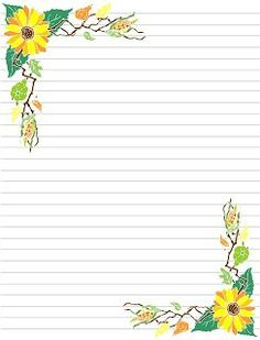 Fall 1 Printable Lined Paper, Free Printable Stationery, Stationery Craft, Printable Designs, Printables, Lined Writing Paper, Botanical Line Drawing, Notebook Paper, Borders For Paper