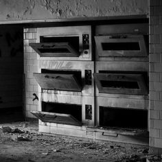 bread ovens pizza ovens or human ovens? time will tell. happy halloween! #hallmarkcardidea  #happyhalloween #allhallowseve #happy #halloween #haunted #horror #trickortreat #locationscouting #productionlife #filmmaking #abandoned #urbex #rurex #ghost #spirit #ovens #blackandwhite #vsco #vscocam #photooftheday #ig_urbex #phantom #iphone #insane #asylum #boo #detroithustlesharder