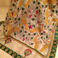 Tussar Dupatta with detailed Kantha stitch hand embroidery and Brocade border. For orders and inquiries, please mail us at naari@aninditacreations.com.  Like our page at www.facebook.com/naari.aninditacreations