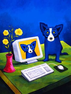 I love George Rodrigue's Blue Dog paintings. He is amazing and he went to my school to paint a painting for us! I love his work. Blue Dog Art, Blue Art, Blue Dog Painting, Dog Paintings, Sign Printing, Teaching Art, Famous Artists, Pet Birds, Art Lessons