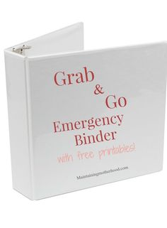 Grab and Go Emergency Binder Do you have all your important documents in one place in case of an emergency? Use this simple checklist to create your own Grab and Go Emergency Binder. Grab and Go Emergency Binder