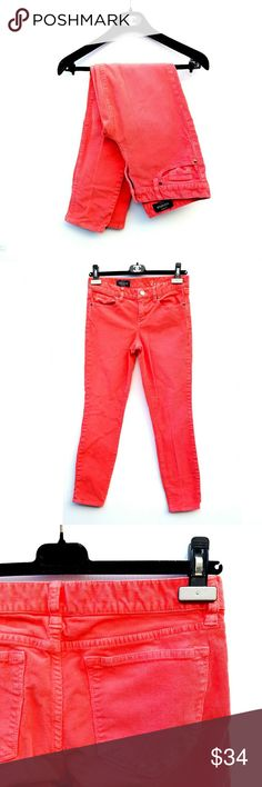 J. Crew Toothpick Coral Corduroy Ankle Pants J. Crew Toothpick Coral Corduroy Ankle Pants  Outerseam 34.5 in Pants appear very red in pictures, bit are actually a coral color. Color most like last stock photo (not of the actual style of the pants since these are ankle) Inseam 27 in Rise 8 in Excellent condition. Feel free to ask me any additional questions! No trades or modeling. Happy Poshing! J. Crew Pants Ankle & Cropped