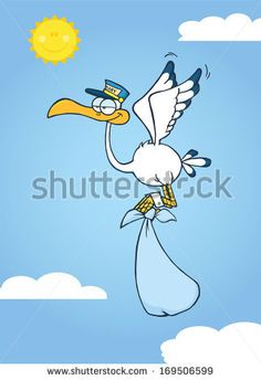 Cute Cartoon Stork Delivery A Baby Boy In The Sky. Stork, Character Illustration, Cute Cartoon, Pet Care, Royalty Free Stock Photos, Baby Boy, Clip Art, Delivery, Sky