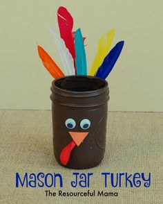 This mason jar turkey is perfect for adding crayons or makers and placing it on the kids' table for Thanksgiving. - repinned by @PediaStaff – Please Visit ht.ly/63sNtfor all our pediatric therapy pins
