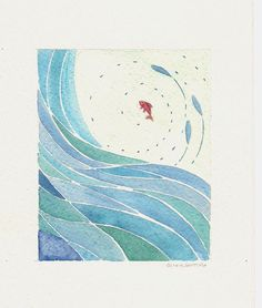 abstract blue wave and red fish- original watercolor painting: