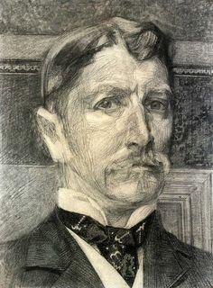 Врубель М. Автопортрет 1904-1905 Бумага, уголь, сангина, мел