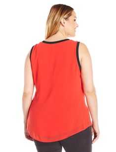 97d00e9d646 Calvin Klein Womens Plus Size S l Top With Rib Trim Tango Red 0X     Want  additional info  Click on the image. (This is an affiliate link)